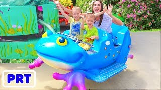 Playgrounds ao ar livre para crianças Parque de diversões Brincadeira divertida com a família Vlad