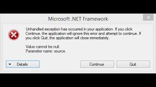Fix Unhandled Exception Has Occurred In Your Application - C#