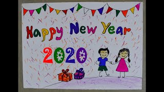 Happy new year 2020 welcome vey easy simple drawing for kids school greeting making project art 18