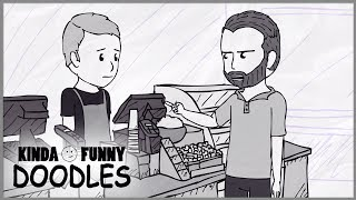 Nick Loses His Shit At Starbucks - Kinda Funny Doodles