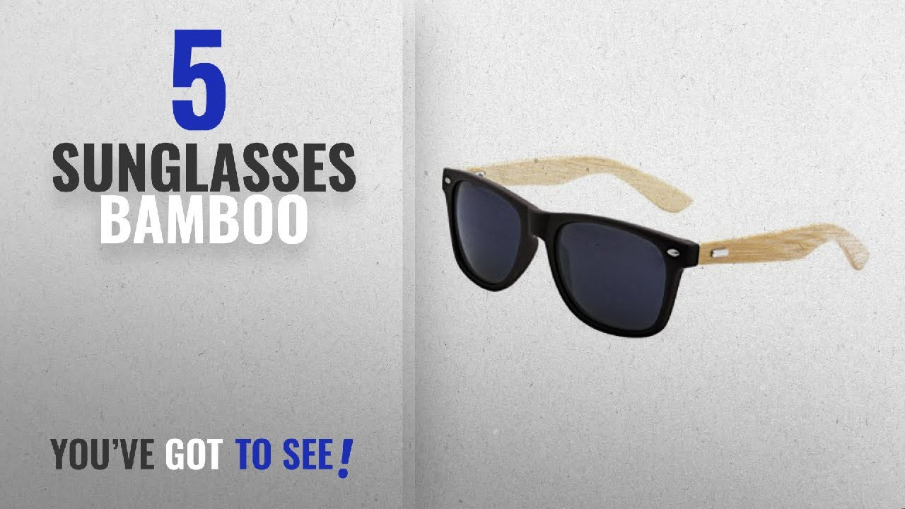 ccc51c5f777 Top 10 Sunglasses Bamboo   Winter 2018    LogoLenses Men s Bamboo Wood Arms  Classic Sunglasses Black