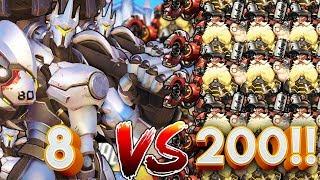 8 REINHARDTS VS 200 TORBJORNS!? OVERWATCH CUSTOM GAMEMODE!