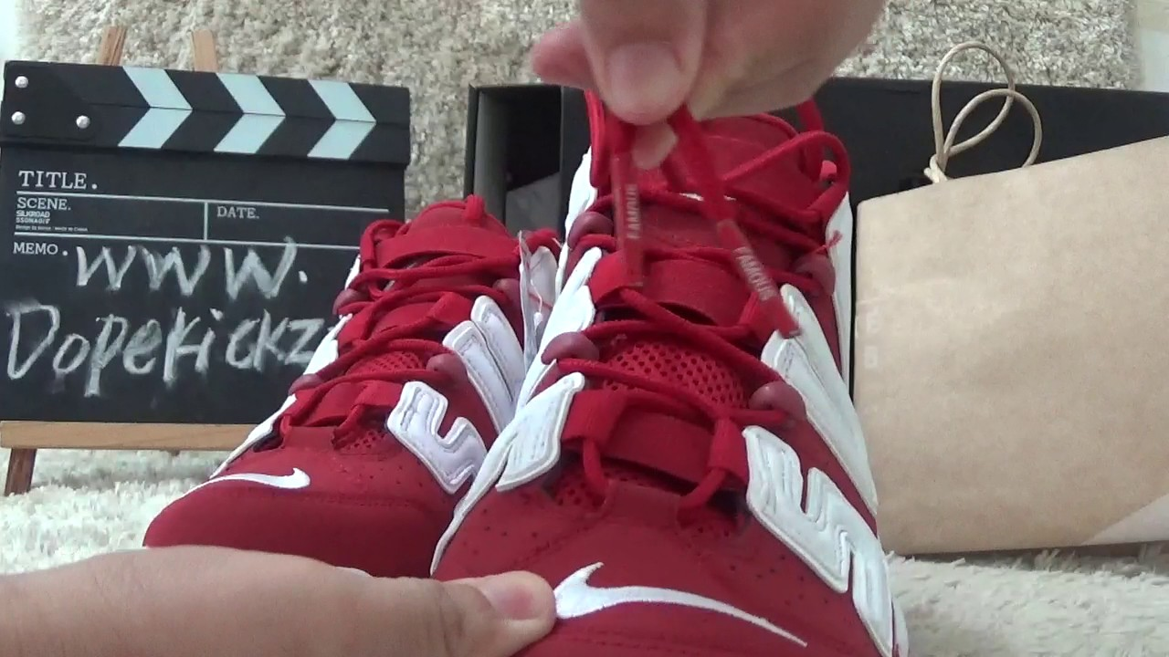 6d833c2c20fac4 Authentic Supreme Nike Air More Uptempo Red Review from Dopekickz23 ...