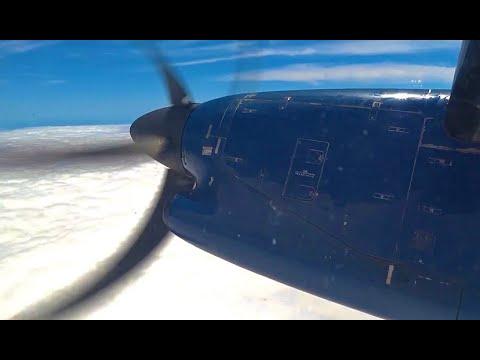 (HD) American Eagle (US Airways Colors) Dash 8 Turboprop - Window View - ISP-PHL