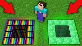 Minecraft NOOB vs PRO:WHAT SECRET RAINBOW PIT VS EMERALD PIT WILL CHOOSE NOOB? 100% trolling