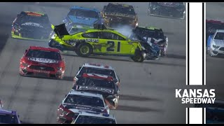 Huge Crash | DiBenedetto, Johnson and Logano involved in massive wreck at Kansas | NASCAR Cup Series