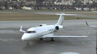 hd bombardier cl 604 challenger landing takeoff at innsbruck airport   19122015