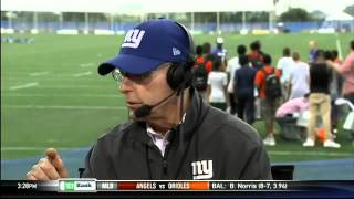 New York Giants head coach Tom Coughlin on set at Giants training camp - The Michael Kay Show