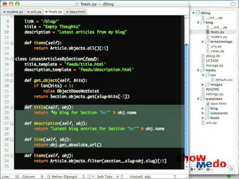 Django Screencasts - Syndication Framework Part 2 (2/7)