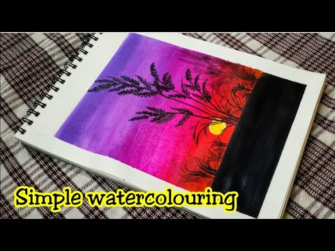 EASY Watercolouring for beginners and kids| step by step tutorial | Scenery Painting | #painting