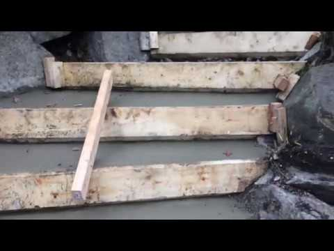 Concrete Stairs Stripping Forms And Broom Finish Youtube