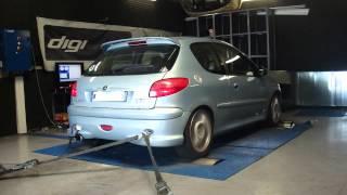 Peugeot 206 S16 136cv @ 154cv reprogrammation moteur dyno digiservices