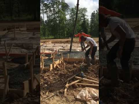 Pouring a large slab with pump truck