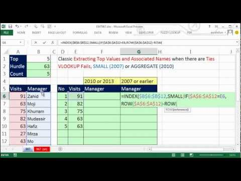 Excel Magic Trick 967: Formula To Extract Top 5 Numbers & Names, Including  Ties or Duplicates