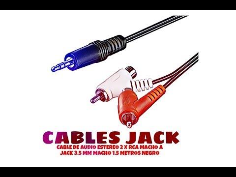 Video de Cable de audio estereo 2x RCA macho a Jack 3.5 mm macho 1.5 M Negro