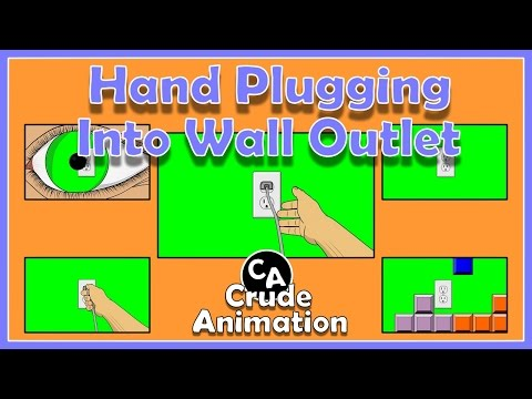 Animated Hands Plugging Cord Into Wall Outlet, + Free Green Screen Download