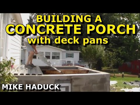 How i build a concrete porch with deck pans mike haduck for Building a front porch deck