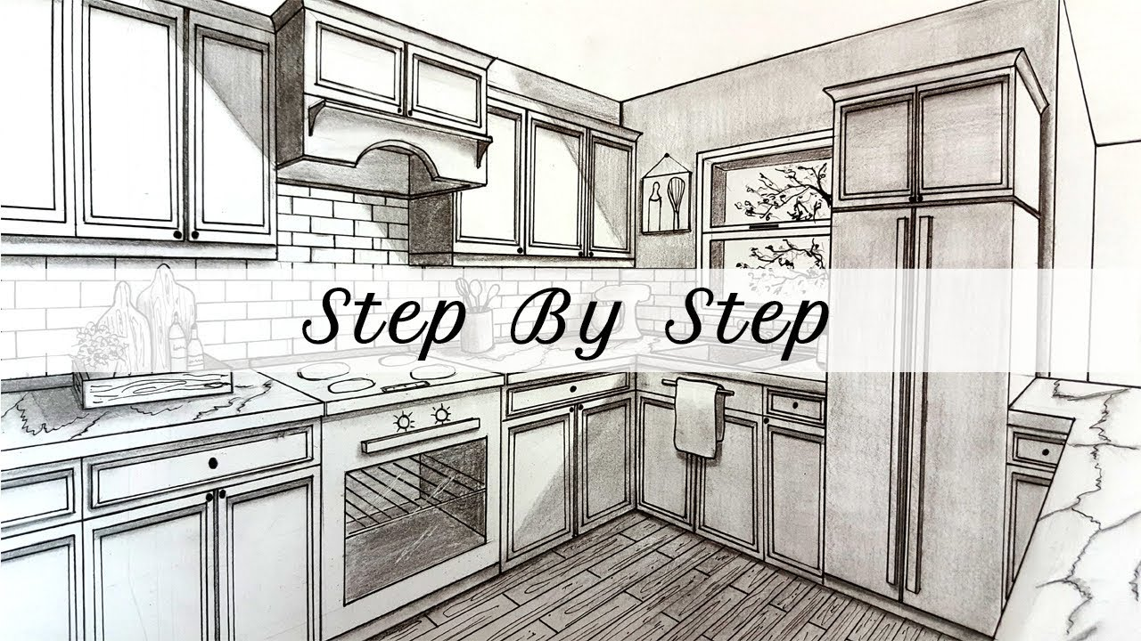 How To Draw A Kitchen In Two Point Perspective Step By Step Youtube