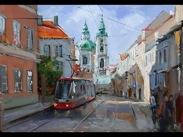 Улица в Праге-Street in  Prague.Vugar Mamedov