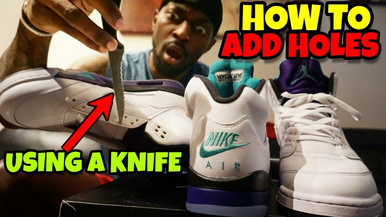 ff73777bbf9 How to Add Laces & Holes In Jordan 5 Fresh Prince Grapes - YouTube