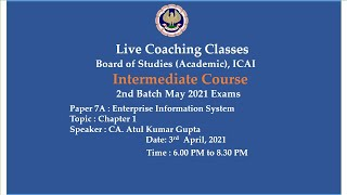 Intermediate Paper 7A: EIS -Topic:Ch-1: Automated Business Processes,Evening session Date:03-04-2021