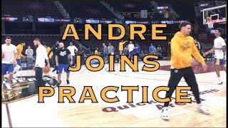 Andre Iguodala joins stretching & warmup at practice at The Q in Cleveland, day before NBA Finals G3