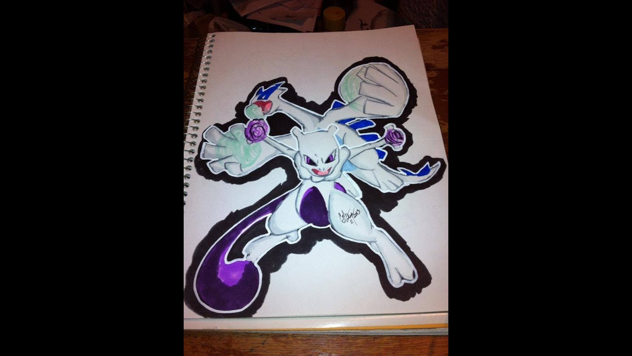 Copic Marker Speed Color Pokemon Lugia And Mewtwo With