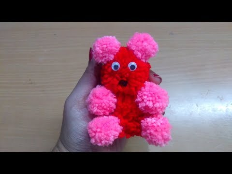 DIY pom pom Teddy Bear|Art and Crafts for kids|Valentine's day gift|Yarn teddy bear