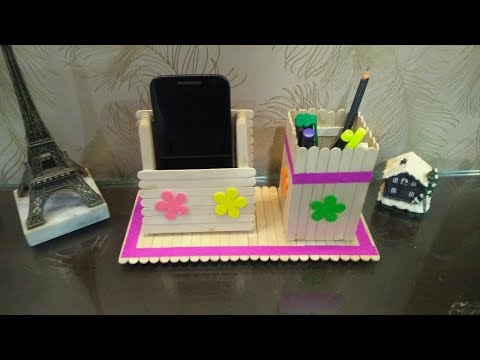 Pen Stand And Mobile Phone Holder With Icecream Sticks Myhiton