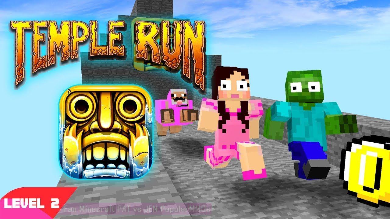 Monster School PopularMMOs Pat And Jen Minecraft: TEMPLE RUN CHALLENGE (Minecraft Animation Level 2)