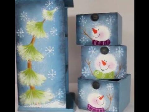 Pintura decorativa mu ecos de nieve y pinos de navidad - Munecos de navidad ...