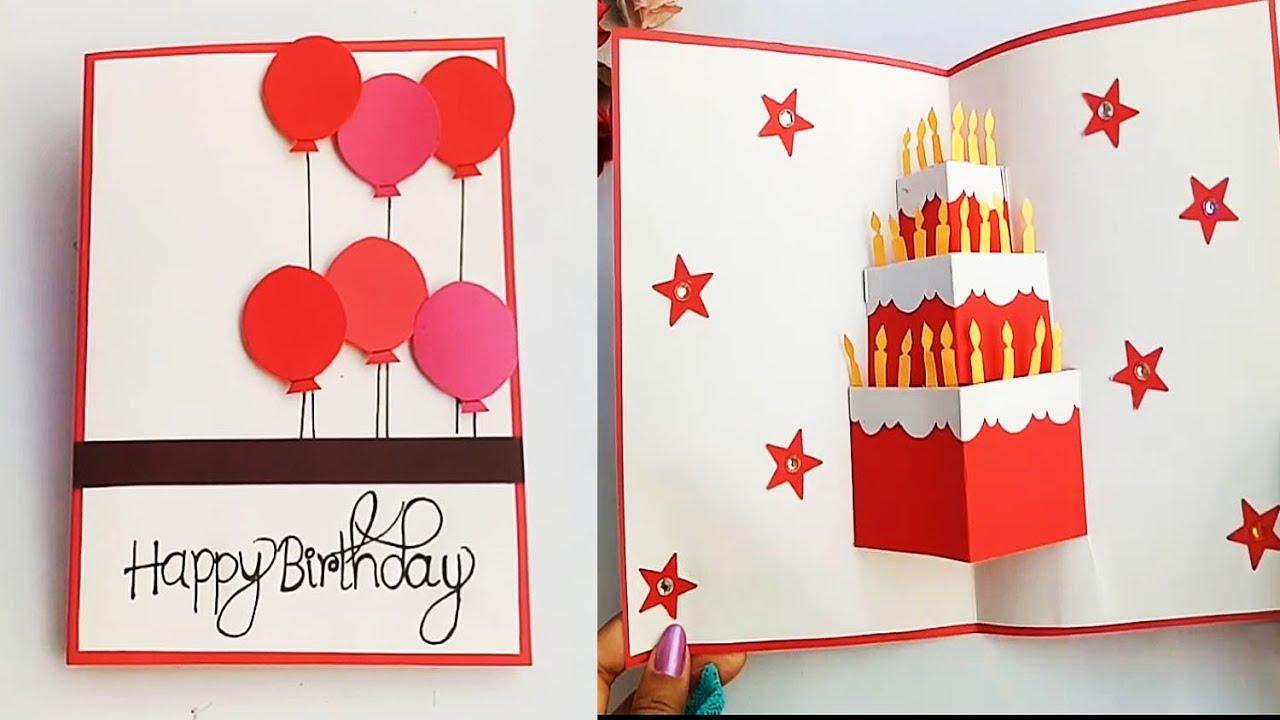 Diy Cake Pop Up Card For Birthday Diy Birthday Day Card Youtube Easy Birthday Cards Diy Simple Birthday Cards Diy Birthday