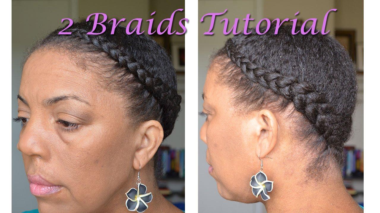 Natural Hair Tutorial - 2 Braids on 3C Hair - YouTube