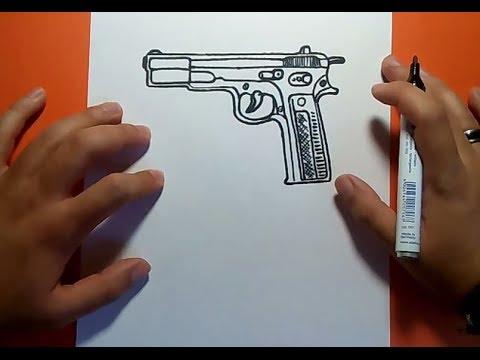 Como dibujar una pistola paso a paso 2 | How to draw a gun 2 - YouTube