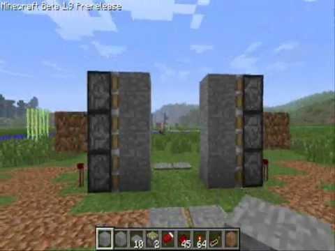 minecraft 1 9: piston door tutorial (2-way, 3 blocks high) (hidden wiring)
