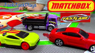 Kids Playing with Toys: UNBOXING Fast Lane Playmat Matchbox Cars & Trucks Pit King