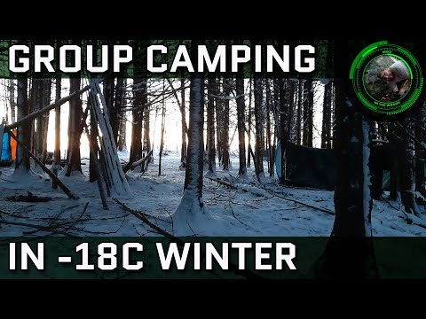 Group Winter Camping Overnighter, -18C Weather, Hammock & Tarp Camping In Freezing Temperatures