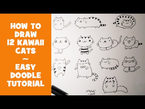 How To Draw 12 Kawaii Doodle Cats Easy Doodle Tutorial