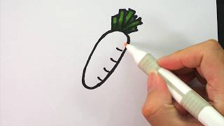 HOW TO DRAW Radish for kids : Step by step easy drawing tutorial