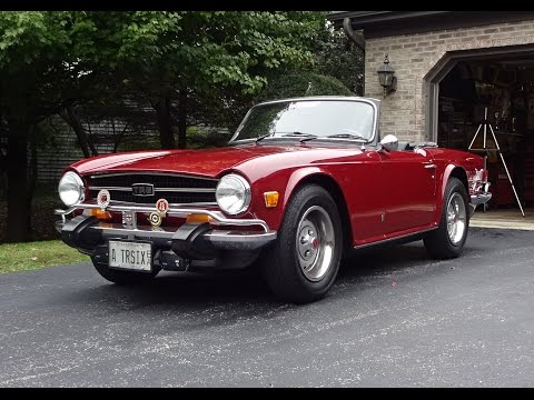 1974 Triumph TR-6 TR6 Convertible in Carmine Red & Engine Sound on My Car Story with Lou Costabile