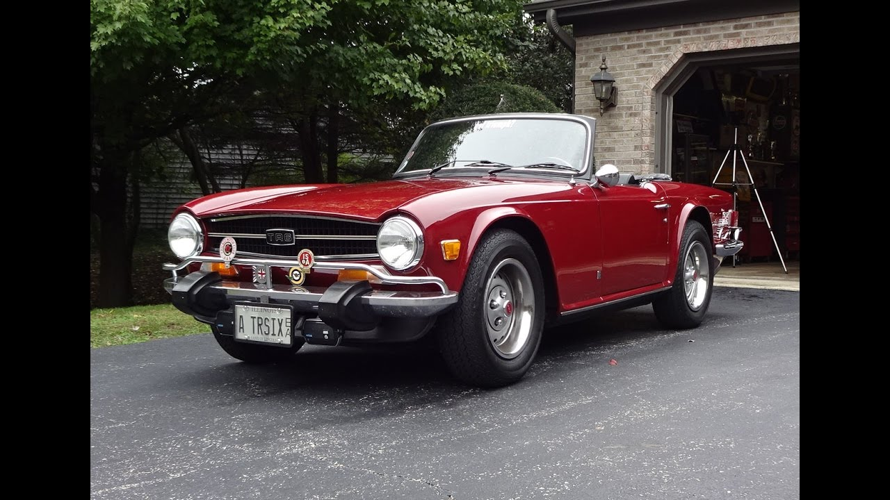 1974 Triumph TR-6 TR6 Convertible in Carmine Red & Engine Sound on ...