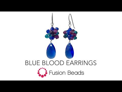Learn to wire wrap to create the Blue Blood Earrings by Fusion Beads
