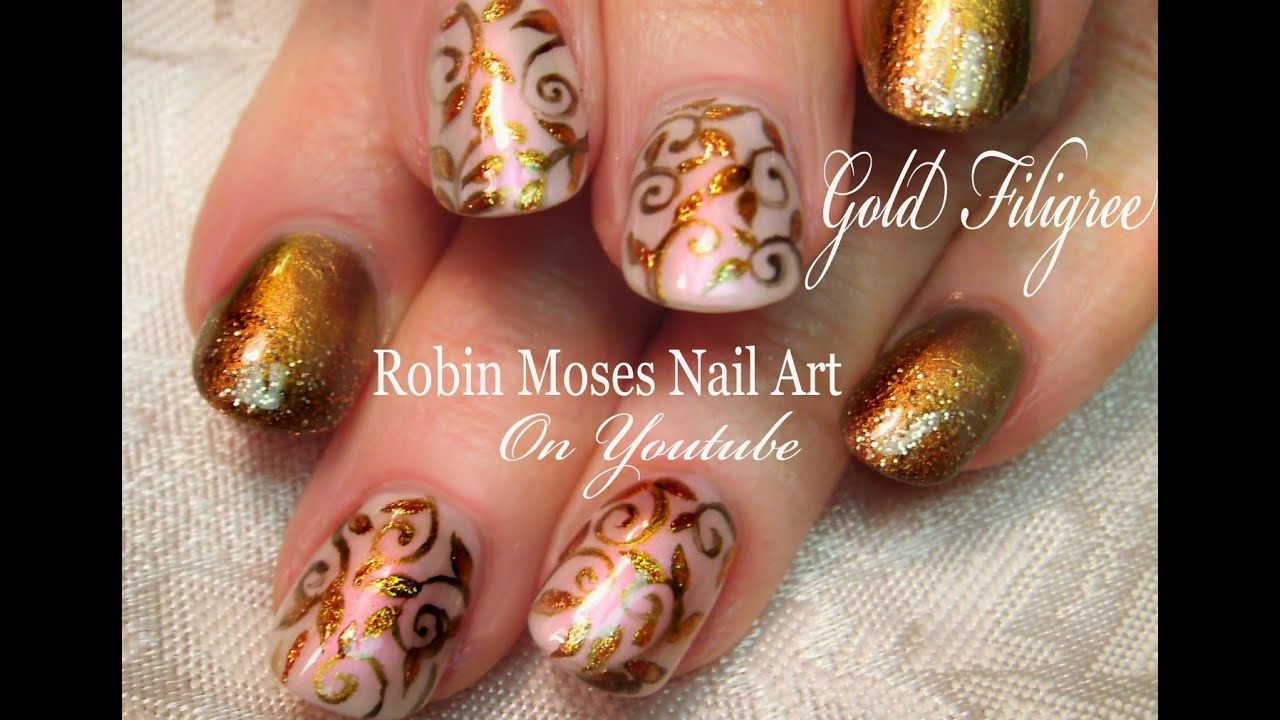 Elegant Gold Nails Easy Glitter Filigree Nail Art Design Tutorial