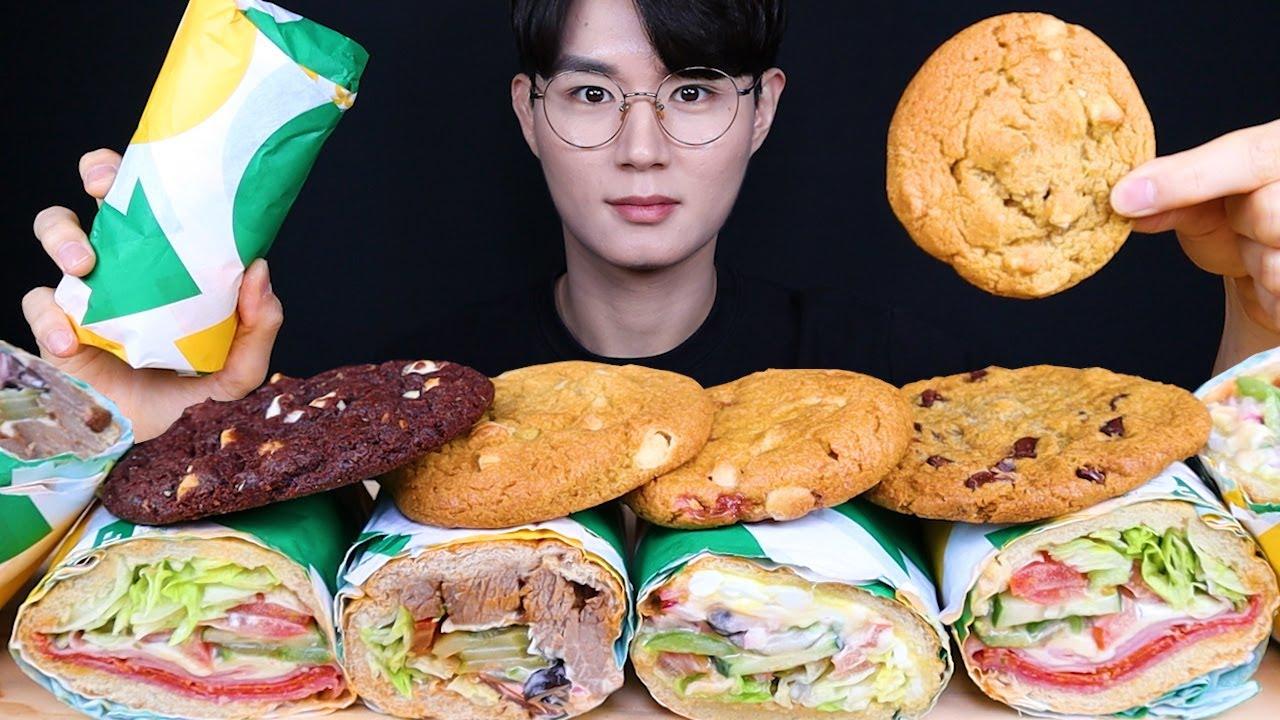 서브웨이 샌드위치 쿠키 먹방ASMR MUKBANG SUBWAY & SANDWICH & COOKIE サンドイッチ クッキー eating sounds