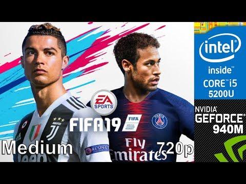 FIFA 19 Demo on 940m + Core i5 5200u, (HP Pavilion 15 ab032TX Laptop), Medium Setting, 720p