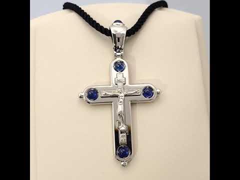 Нательный крест из белого золота с сапфирами