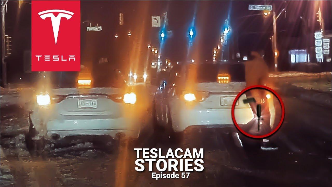 TESLA & FOX NEWS VAN STUMBLE UPON GUY WITH SEMI AUTOMATIC RIFLE | TESLACAM STORIES #57