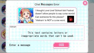 CAN CHAT MESSAGE ERROR BE FIXED IN THIS GAME? (Love Live! School Idol Festival)