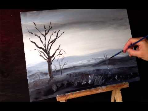 Acrylic painting techniques a landscape painting youtube for Black and white acrylic painting techniques