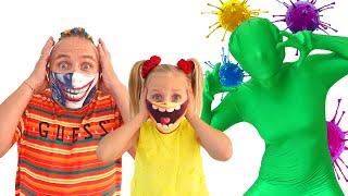 Алиса и папа их правила поведения как носить маски, мыть руки и не заболеть от вируса